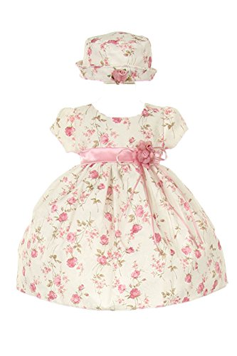 CinderellaCouture-ME839-rose printed jacquard baby dress, pink, size XL