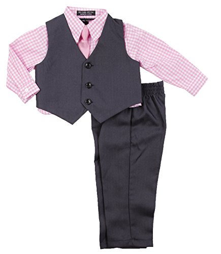 Boys Formal Suit Set - Vest Dress Shirt Pants and Matching Tie Dressy Wear Outfit by Caldore (2T, Pink)