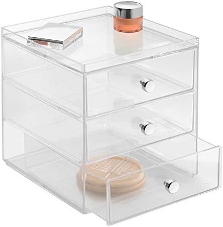 iDesign Organizador de maquillaje con 3 cajones, compacta minicómoda apilable de plástico, mini cajonera para productos de belleza y cosméticos, transparente
