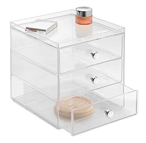 iDesign Organizador de maquillaje con 3 cajones, compacta minicómoda apilable de plástico, mini cajonera para productos de belleza y cosméticos, ...