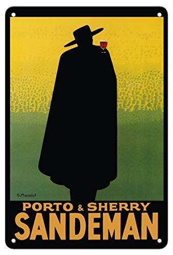Pacifica Island Art 8in x 12in Vintage Tin Sign - Porto & Sherry Sandeman - French Port, Brandy, Madeira Wines by Georges Massiot