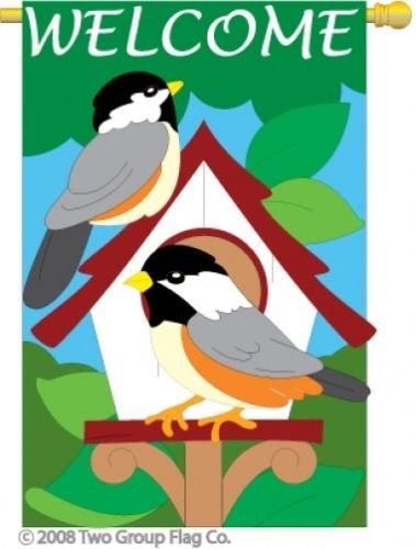 (Two Group - Bird House Garden Friends - Everyday Birds Applique Decorative Vertical House Flag 28