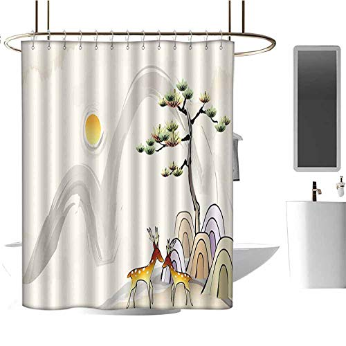 (StarsART Shower Curtains Hooks red 3D Nature Wallpaper W36 x L72,Shower Curtain for Girls Bathroom)