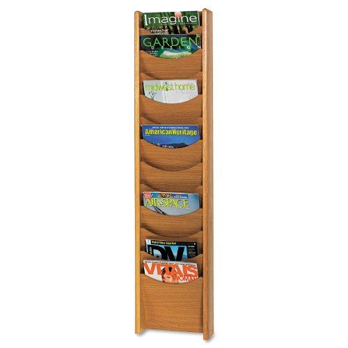 Safco 4331MO Solid Wood Wall-Mount Literature Display Rack 11-1/4 x 3-3/4 x 48 Medium Oak (Magazine Oak Rack Safco)