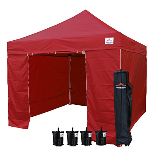 UNIQUECANOPY Enhanced 10×10 Ez Pop up Canopy Instant Tent Outdoor Party Portable Folded Commercial shelter, with 4 x Side Walls, Wheeled Carrying Bag and Bonus 4 x Sand Bags Wine Red Review