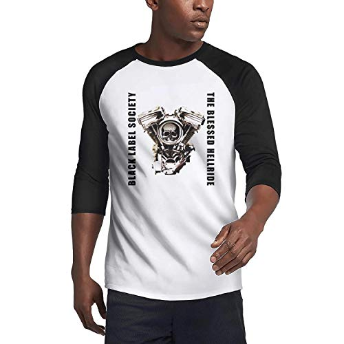 Men's Casual Black-Label-Society-Skull- 3/4 Sleeve Plain Raglan T-Shirts