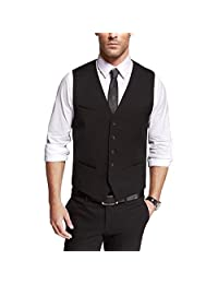 DOUGLAS&GRAHAME Mens 4 Pockets 5 Buttons Solid Business Suit Vests Casual Waistcoats