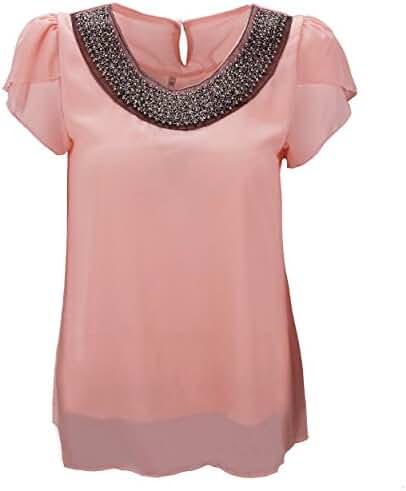 Benibos Women Casual Short Sleeve Slim Batwing Chiffon T-shirts Elegant Tops Blouse