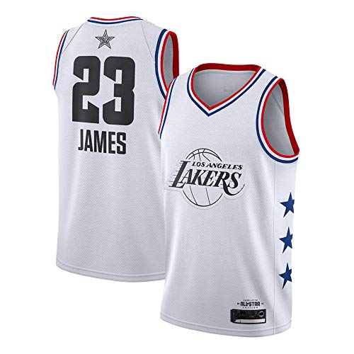 (YDD Basketball Uniform- NBA Lakers 23# James Embroidered Mesh Basketball Swingman Jersey,Summer Sports Basketball Jersey,Whites(50~65kg))