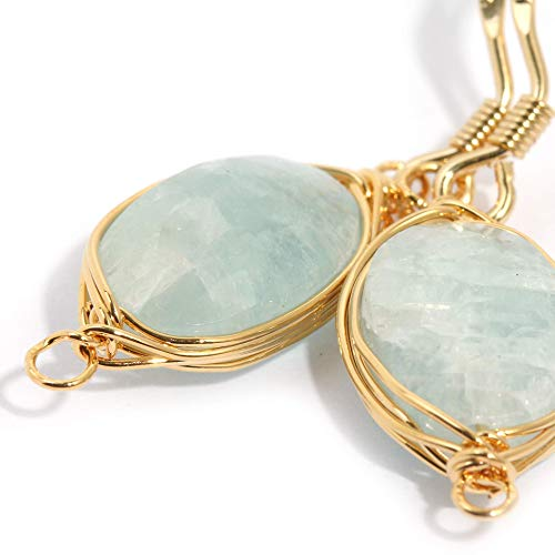 (Natural Stone Wire Wrap Dangle Drop Earrings Gold Plated 925 Sterling Silver Hook/Aquamarine Oval)