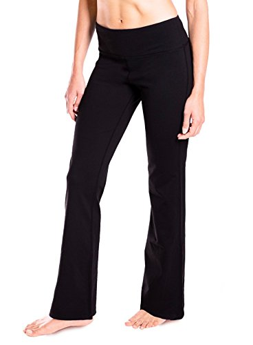Yogipace 28″/29″/30″/31″/32″/33″/35″/37″ inseam,Petite/Regular/Tall, Women's Bootcut Yoga Pants Long Workout Pants, 28″, Black Size XL