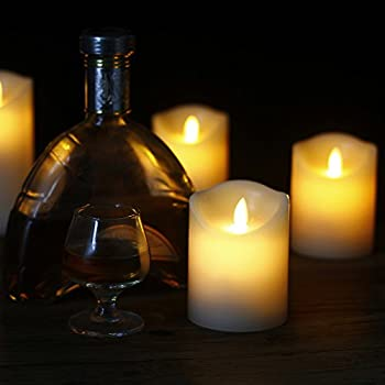 """Comenzar Flameless Candles,led Candles Realistic Moving Set Of 5(h4 4"""" 4"""" 6"""" 6"""" Xd3.25) Flickering Candles With Remote Timer(batteries Not Included) 7"""