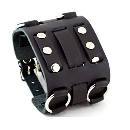 (Wide Black Leather Tri Clasp Cuff Wrist Watch Band Rock Bracelet Cuff Cool By United Watchbands)