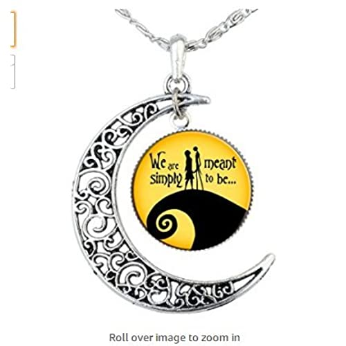 charm crescent moon nightmare before christmas pendant necklace love gift for girlfriend wife romantic gift jack skellington sally geek - Christmas Gifts Under 5 Dollars