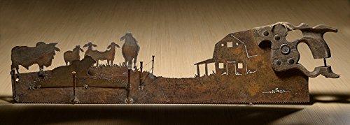 Brahman Bulls, Barn and Fence design | Metal Art Rustic custom cut handsaw | Wall Decor | Recycled Art | Re-purposed Made to Order for ranchers | Plasma cut metal ()