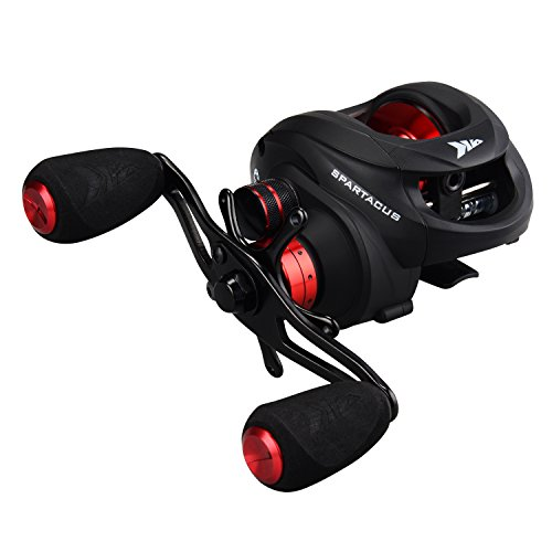 Baitcast Reel Red - KastKing Spartacus Baitcasting Fishing Reel Ultra Smooth 17.5 LB Carbon Fiber Drag, 6.3:1 Gear Ratio,11 + 1 Shielded Ball Bearings, Rubber Cork Handle Knobs (E:Rocket Red: Right Handed Reel)