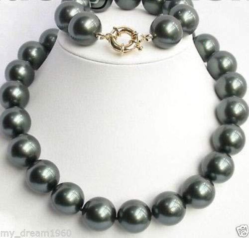 FidgetFidget 18'' 7.5'' 14MM Tahitian Sea Black South Sea Shell Pearl Necklace Bracelet Sets