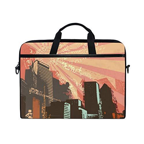 TARTINY 15-15.4 Inch Laptop Bag Cityscape Grunge Background Vector Illustration Series Shoulder Messenger Bags Sleeve Case Tablet Briefcase with Handle Strap