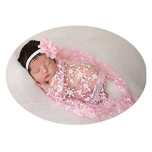 Price comparison product image Luxury Newborn Boy Girl Baby Photography Props Wrap Lace Yarn Cloth Blanket (Pink)