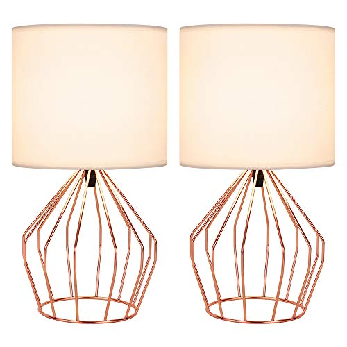 Table Lamps Set of 2 Bedside Lamps Modern Desk Lamp Rose Gold Hollowed Out Metal Base with White Lampshade Night Light Pair for Bedroom Living Room