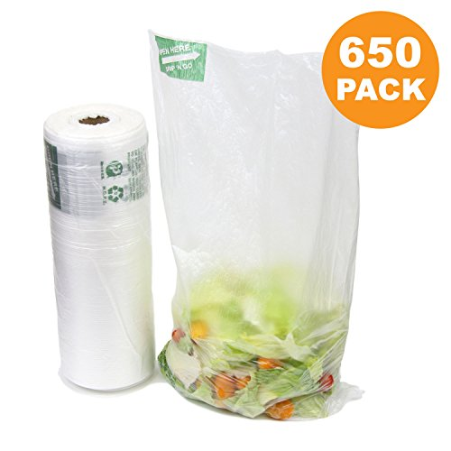 650 Ct 12x 20 Large Plastic Produce Bag Roll, US Made HDPE, Durable Clear Food Storage Saver for Fruit Vegetable Bakery Snack Grocery Bags