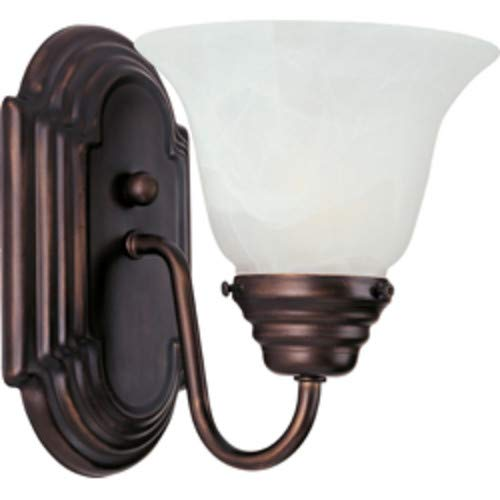 Maxim 8011MROI Essentials 1-Light Wall Sconce Bath Vanity, Oil Rubbed Bronze Finish, Marble Glass, MB Incandescent Incandescent Bulb , 100W Max., Damp Safety Rating, Standard Dimmable, Glass Shade Material, 4600 Rated Lumens