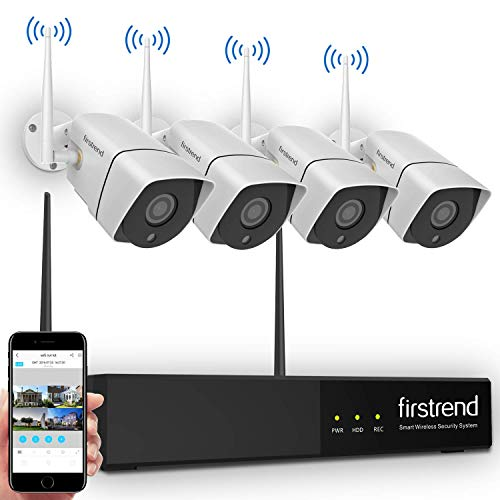 Security Camera System Wireless,Firstrend HD Video Security System with 4PCS 960P 1.3MP IP Security Camera Indoor Outdoor 65FT Night Vision Without Hard Drive (Camera Wire Free System)