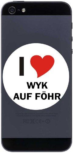 I Love Decal Sticker sticker cell phone sticker Handyskin 7 cm with city name WYK AUF FOEHR