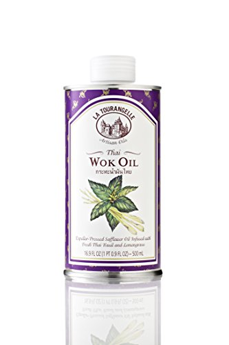 La Tourangelle Thai Wok Oil 16.9 Fl. Oz., Thai Basil and Lemongrass Infused Safflower Oil, Great for Stir-fry or Thai-Style Curry