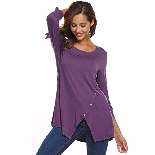 Big Promotion! Wintialy Women's Solid Split Hemline Casual T-Shirt Blouse Tunic Tops With Buttons