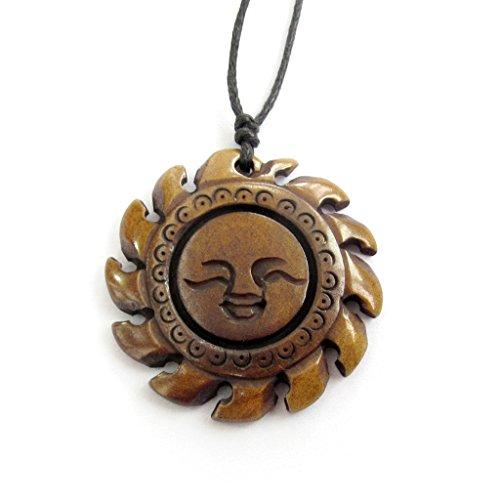 Bone Face Pendant - Ox Bone Carved Sun Face Pendant Necklace
