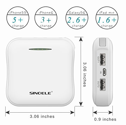 SINOELE mobile or portable power Bank 10000mAh External Battery Pack parallel USB Charger extremely little for iPhoneiPadSamsungHuawei White External Battery Packs
