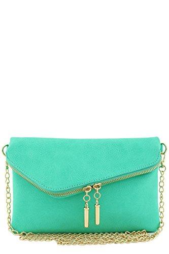 Envelope Wristlet Clutch Crossbody Bag with Chain Strap Mint (Clutch Purse)
