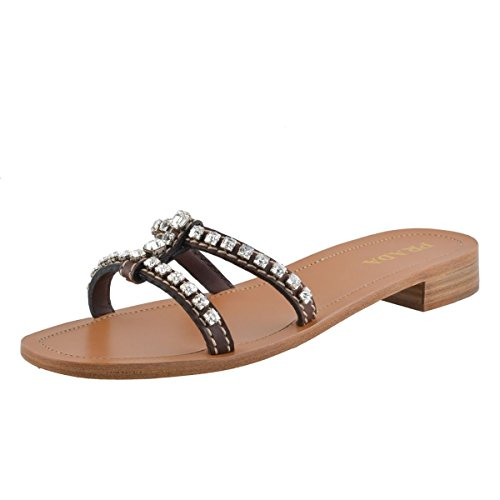 Prada Women's Leather Crystal Decorated Flip Flop Shoes US 6.5 IT 36 1/2; Brown
