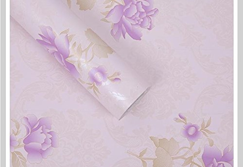 Large632003 60 Width 10M Purple Lotus Flowers REAGONE The Wallpaper Wallpaper Self Adhesive 10M 60Cm Wide A Roll Of Pure Color Bedroom Warm Korean Waterproof Quarters Romantic