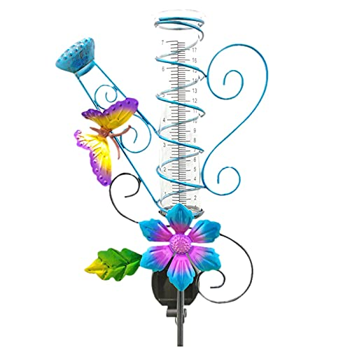 Ymibull Solar Rain Gauge Butterfly Garden Stakes Outdoor, Garden Outdoor Control Sensor on Light Purple Flower with Butterfly Decor