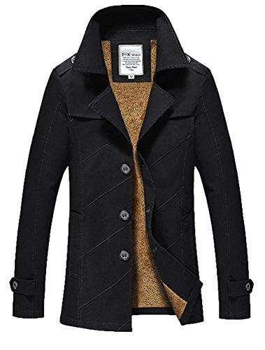 Vogstyle Herren Jungen Langarm Cabanjacke Reverskragen Trenchcoat Mantel Kurzmantel Einreihig Jack Anzug Art 1 Schwarz L Fur