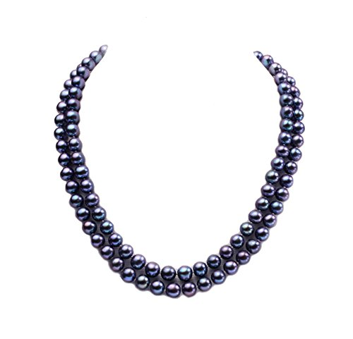 JYX Double-row 8mm Black Cultured Freshwater Pearl Necklace (Double Row Pearl)