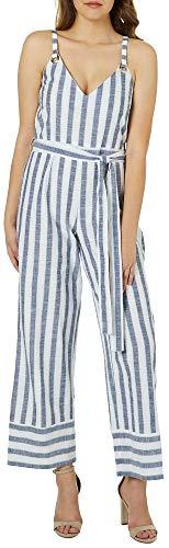 Derek Heart Juniors Belted Mixed Stripe Jumpsuit Small White/Blue