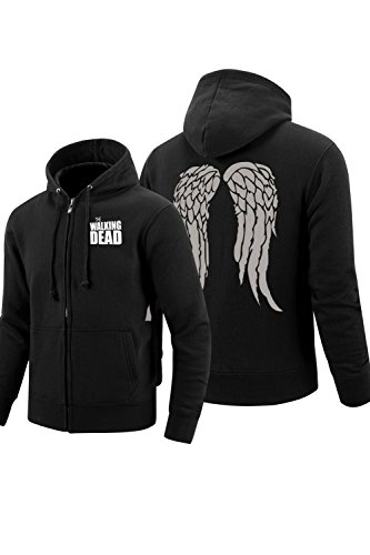 Valecos Youth Unisex Cosplay Daryl Dixon Wings Zip Up Hoodie Black Coat(Unisex:Small, (Walking Dead Kids Costumes)