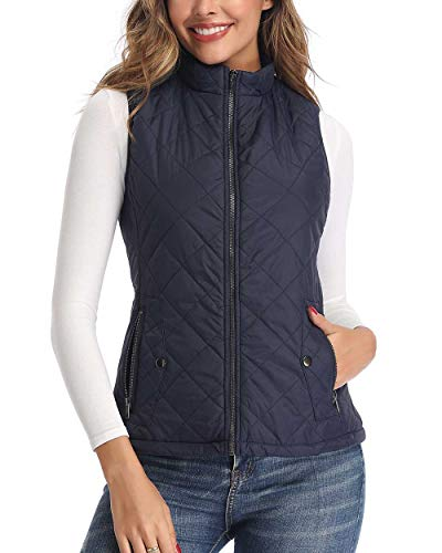 Art3d Quilted Lightweight Outware Vest for Women, Dark Blue - S(Fits Like X-Small)