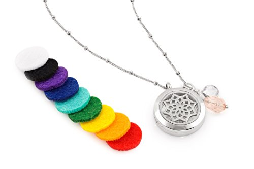 1 Silver Dreamcatcher Essential Oil Diffuser Necklace - Aromatherapy Jewelry - Hypoallergenic 316L Surgical Grade Stainless Steel, 20.8