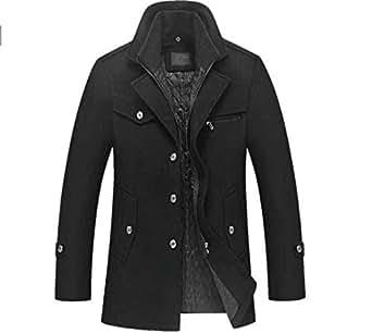 Winter Wool Coat Slim Fit Jackets Mens Casual Warm