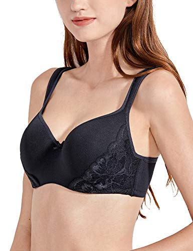 (DELIMIRA Women's Lightly Lined Underwire Smooth Full Figure Balconette Bra Black_lace 40C)