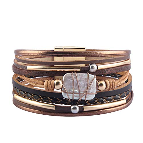 XiaoMtou Leather Wrap Bracelet Pearl Braided Cuff Bangle Boho Crystal Charm Casual Bracelets for Women, Teen Girls, Wife, Kids Gift (Brown Color)