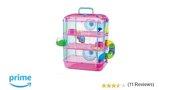 Jaula de hámster fantasía, con 3 pisos, color rosa y azul: Amazon ...