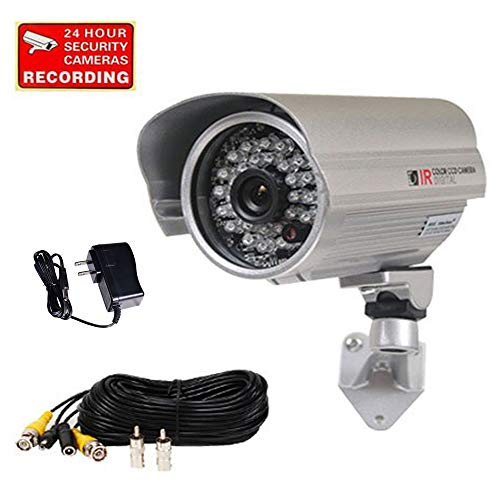 VideoSecu 700TVL Bullet Security Camera Built-in SONY Effio CCD Outdoor Day Night IR Infrared Wide Angle High Resolution with Bonus Power Supply and Extension Cable WWD