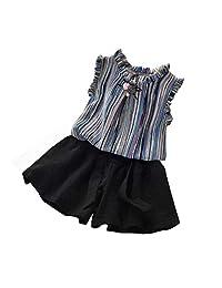 2PCS Summer Baby Girls Chiffon Vest Shirt+Shorts Outfits Clothes Set 2019