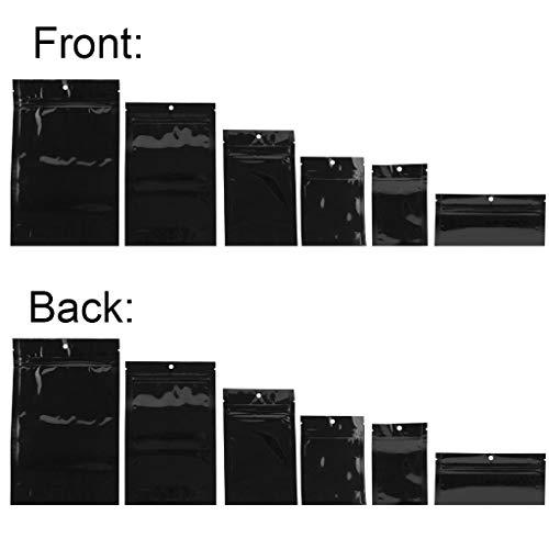 Mylar Smell Proof Bags - Zipper w/Heat Seal - 100 Bags (Black & Black, 1 Gram)