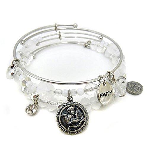 Faith Bracelet Angel Stackable Bangles Silver Tone White Charm Beaded Adjustable